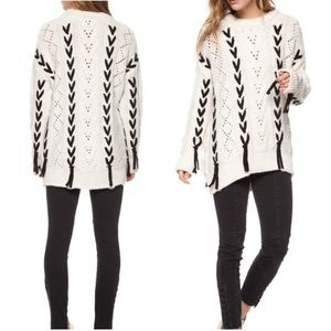 Dex CONTRAST LACE SWEATER distressed cable knit XS
